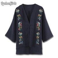LycheeGirls Indie Folk Women Blouse Floral Embroidery Casual Loose Button Shirt Cardigan Outwear Kimono
