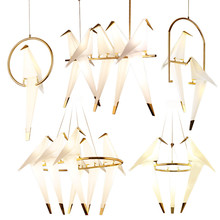 Creative Gold LED Bird Design Chandeliers Origami Metal Paper Crane lustre avize modern salon Chandelier Lighting Drop ship