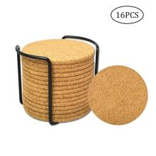 Natural Cork Coasters With Round 16pc Set with Metal Holder Storage Caddy 1/5inch Thick Absorbent Eco-Friendly Heat-Resis