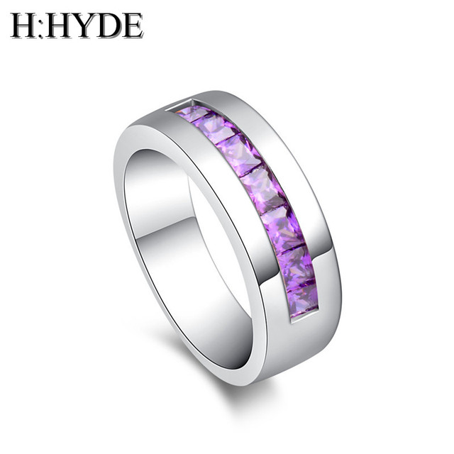 H:HYDE 1pc Classic Luxury Wedding Rings For Women anillos mujer CZ pink Red Cubi