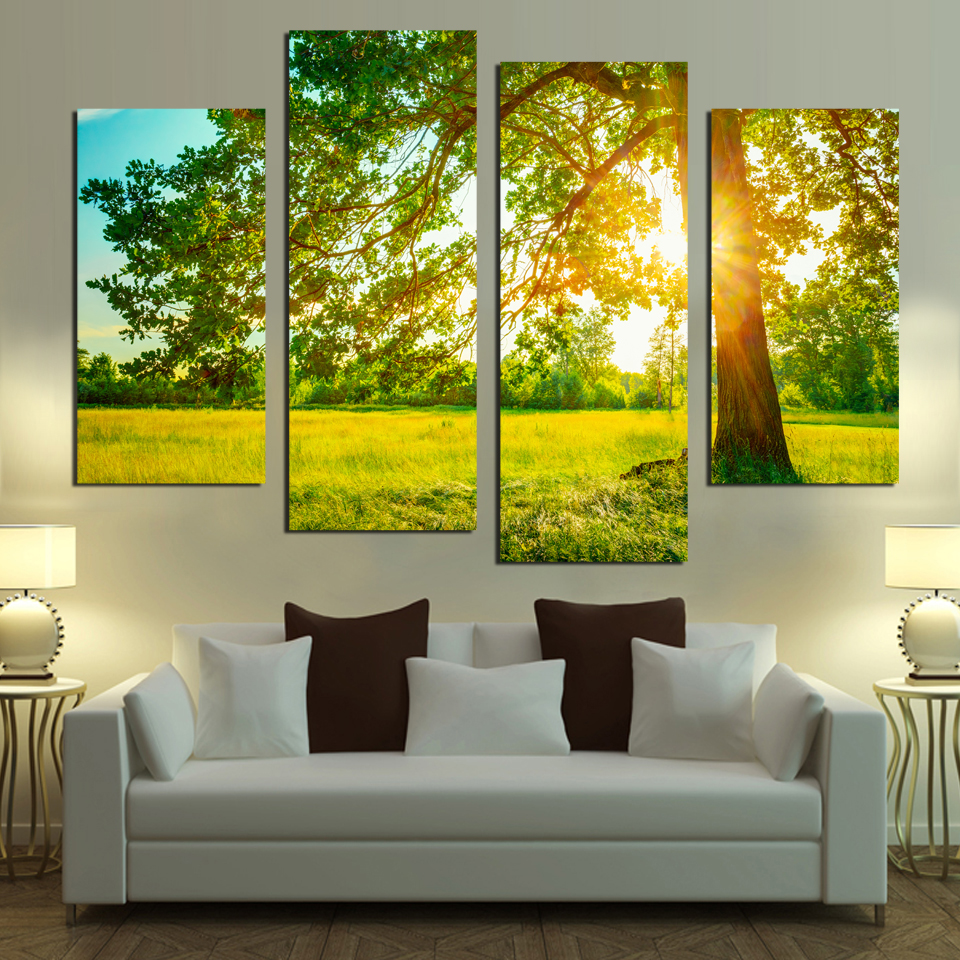 Fashion In 2018 Canvas Painting Tree Green Glass Nature Landscape ...