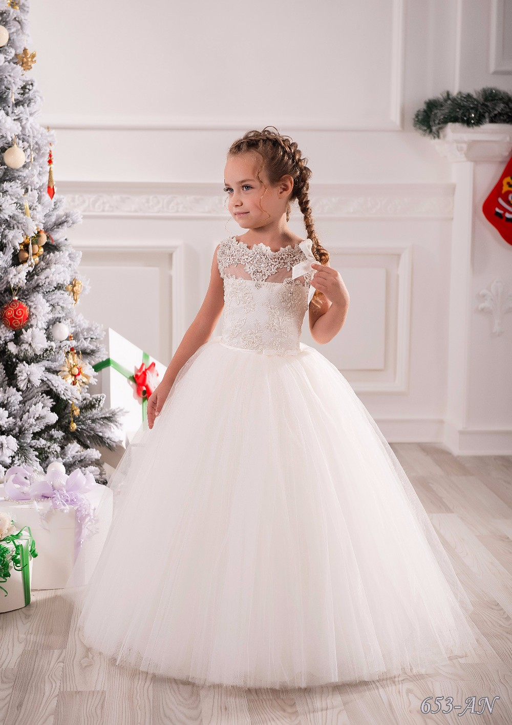 New Lace Flower Girls Dresses Wedding Party Dress Ball ...