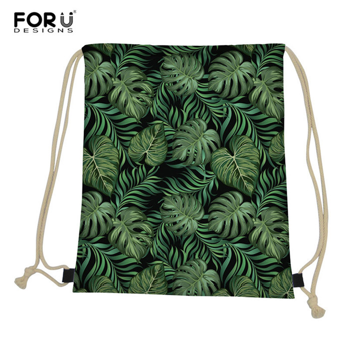 FORUDESIGNS Tropical Leaves Drawstring Bag Fashion Shoulder Bags Hip Hop Fans New Arrival High Capacity Women Backpack