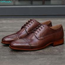 Brand Derby Shoes Men Brown Wedding Office Formal Shoes Genuine Leather Handmade oxford Mans Footwear Dress Shoe