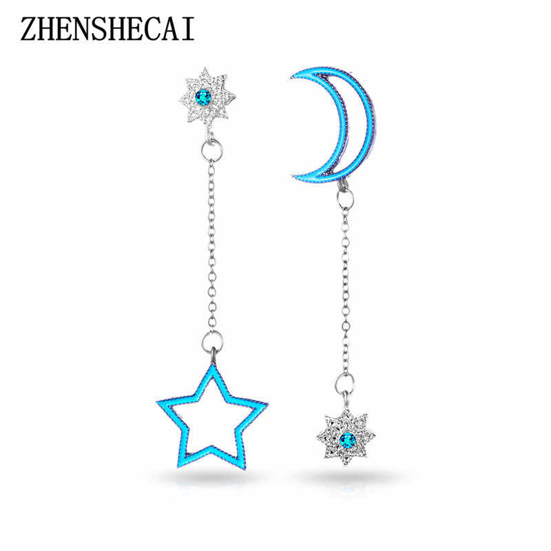Lovely Moon Star Drop Earrings Blue Color Both Sides Asymmetric Tassel Earrings for Women Earrings Jewelry Wholesale e0467