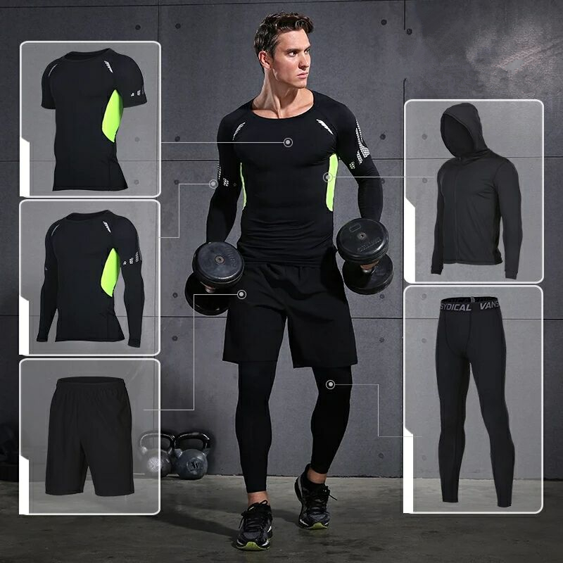 Vansydical Mens Running Suit Fitness Tracksuit Gym Sports Suits Running Sets Compression Tights Workout Sportswear Jogging Suit 2018 sports suits men quick dry running jogging sets male workout fitness tights basketball training gym suits sportswear 5pcs