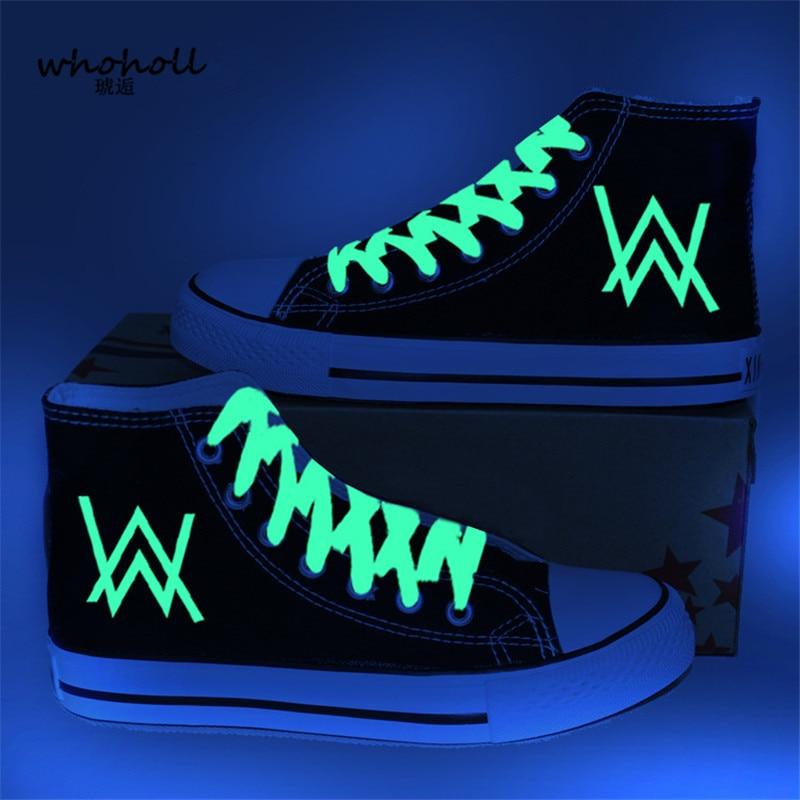 2018 Spring Women Canvas Shoes Fluorescence Alan Walker DJ High Top Canvas Shoes Women's Shoes Couple Vulcanize Vulcanize Shoes