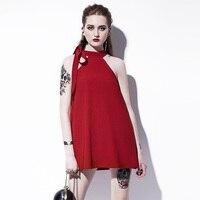 Young17 القوطية البسيطة اللباس الربيع الصيف الأحمر الرسن أكمام المرأة القوطي فستان قصير أزياء فتاة خط مثير القوطية اللباس مصغرة