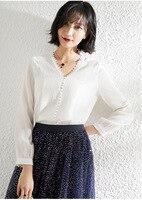100% Двусторонняя шелковая блузка V образным вырезом рубашки с длинными рукавами белые офисные женские топы fashionnova женская одежда ретро черн