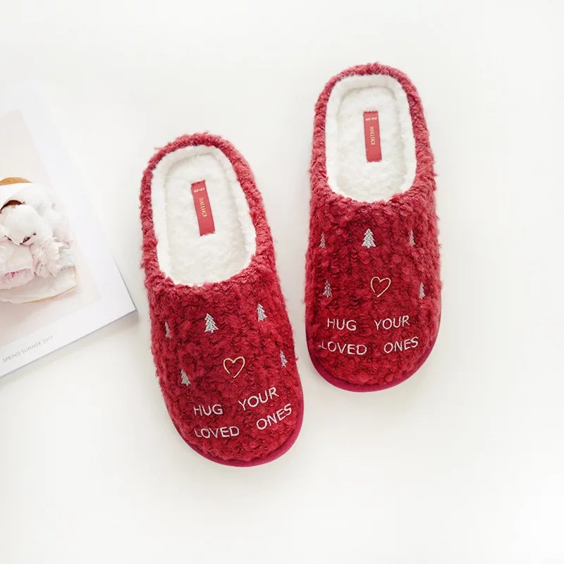 Women Winter Home Slippers For Indoor Bedroom House Warm Cotton Shoes Adult Plush Flats Christmas Gift cute sheep animal cartoon women winter home slippers for indoor bedroom house warm cotton shoes adult plush flats christmas gift