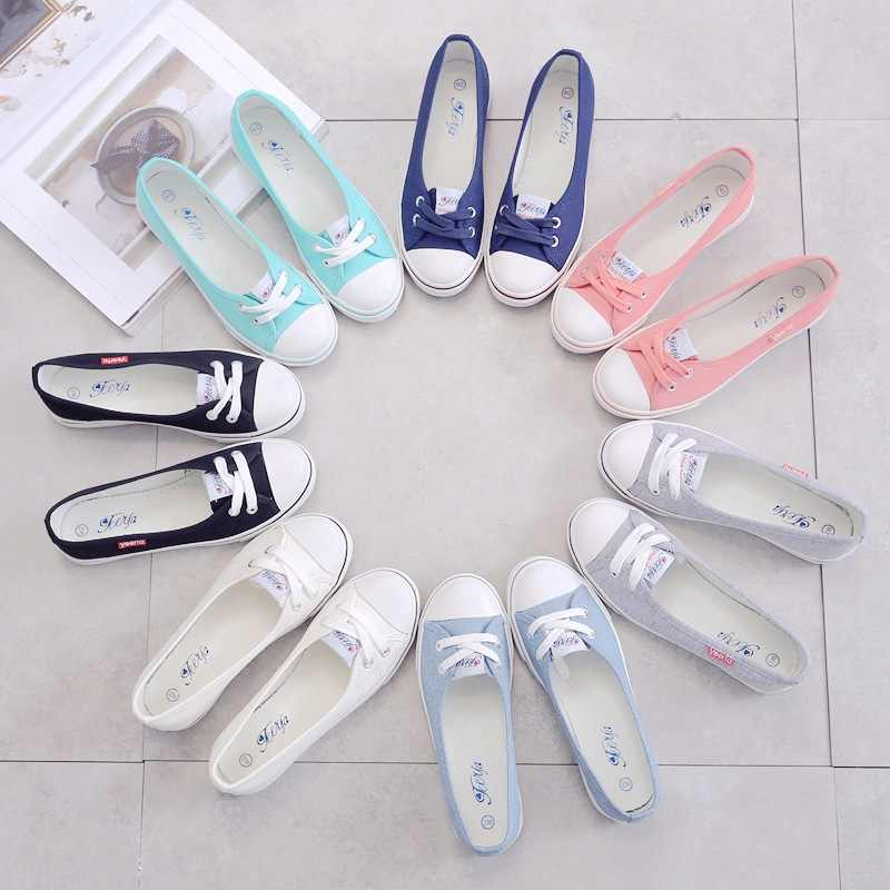 รองเท้าผู้หญิงรองเท้าผ้าใบรองเท้าสบายรองเท้า SLIP-ON เกาหลีนักเรียนชุดเท้ารองเท้า 2019 ฤดูใบไม้ผลิแฟชั่น Espadrilles สุภาพสตรีรองเท้า