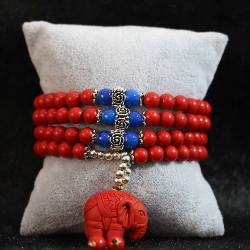 Plus de rangées nouveau cinabre rouge synthétique 6mm 108 perles pendentif éléphant en gros au détail bracelet bijoux B796