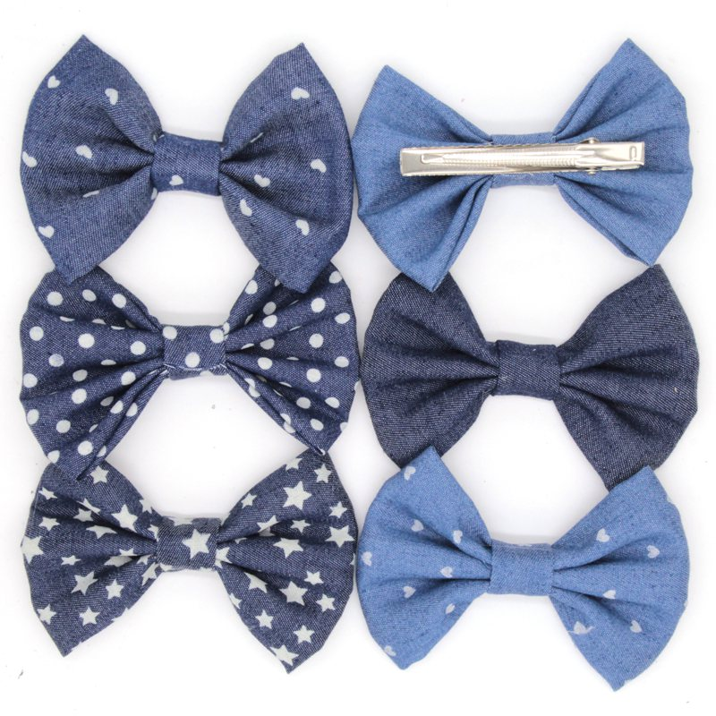 Retail 1PC 4'' Big Cute Denim Hair Bows WITH Clips,Messy Hair Bow Clips For Children Headband, Baby Hair Accessories free shipping 4 4 size 430c pernambuco cello bow high quality ebony frog with shield pattern white hair violin parts accessories