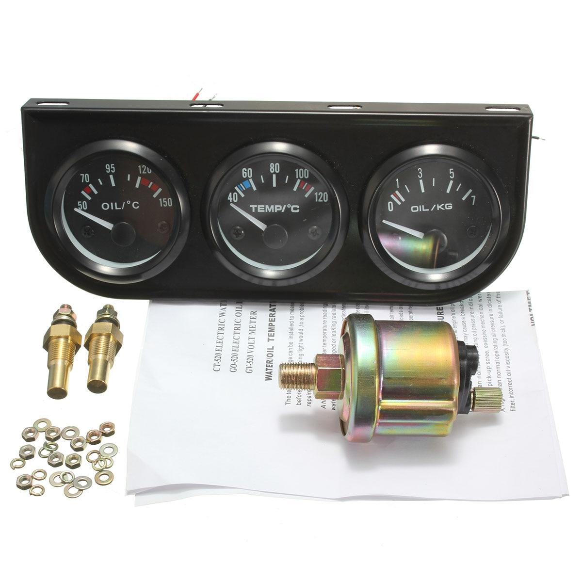 2 pulgadas 52mm temp de agua presión de aceite 3 medidor electrónico kits W/3 Agujero stent