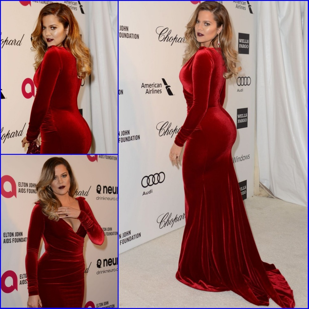 High quality v neck red velvet celebrity evening dresses - Designer red carpet dresses ...