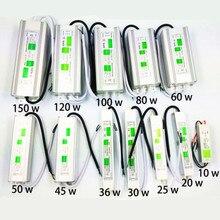 Водонепроницаемый 10 W-150 W AC110-260V для DC12V/24 V Светодиодный драйвер Трансформатор Питание адаптер электронные напольные IP68 ленточная Светодиодная лампа