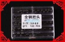 Бесплатная Доставка 100 шт. Черный Нержавеющей Full Metal Watch Crowns Размер 3.0-8.0 мм для Ремонта Часов