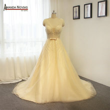 Sexy Transparent Bodice Pearls Wedding Dress Champagne Color