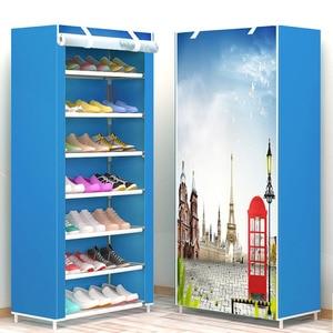 Image 4 - Eight Layers Modern Minimalist Thicken Non woven Shoe Storage Cabinet Creative DIY Assembly Dustproof  Shoe Organizer Shelf Rack