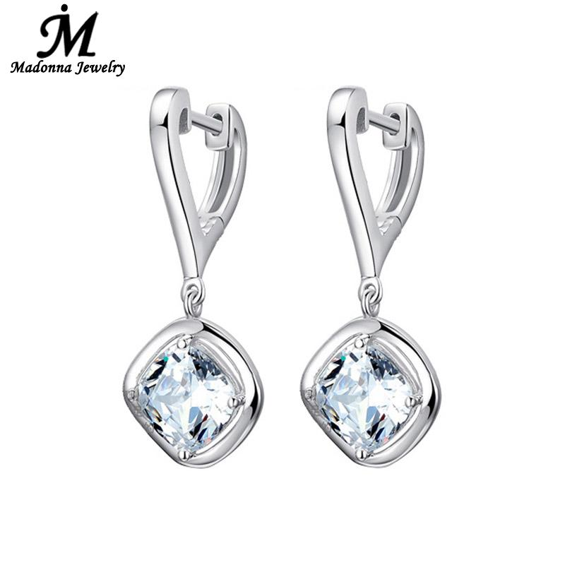 Fashion New 925 Sterling Silver Heart Women stud Earrings AAA Flash crystal Ear Buckle Jewelry High Quality Wholesale