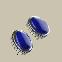 Earings Silver Sterling 925 Natural Stone Lapis Lazuli Jacket Earring For Women Wholesale Lots Bulk Jewelry Zilveren Oorbellen
