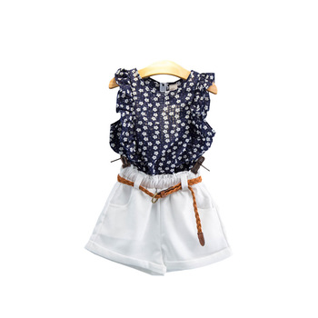 Girls Flowers Printed Navy Blouse and White Shorts Kids Summer Clothing Set Children Butterfly Sleeve Top + Hot Pants with Belt conjuntos casuales para niñas