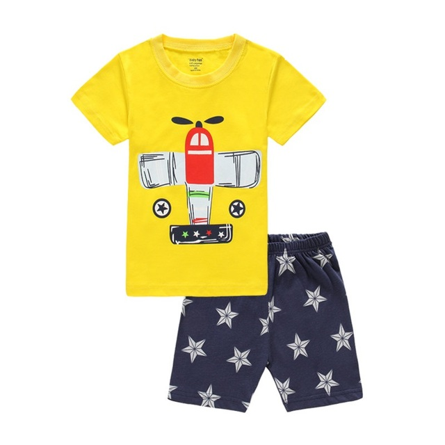 e041b300a52 Yellow Plane Boy Clothes Set Children T-Shirt Star Pant Suit Kids Outfit  Sport Suit 100% Cotton Tops Pant Air Force Tee Shirts