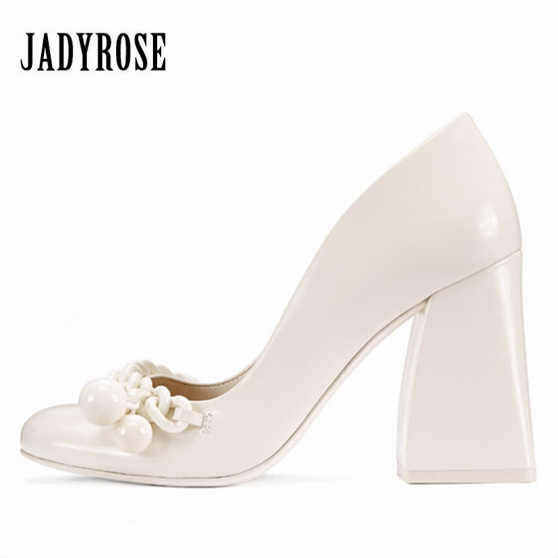 Jady Rose Sexy White Women Pumps 8CM Chunky High Heels Chains Decor Prom Wedding Shoes Woman
