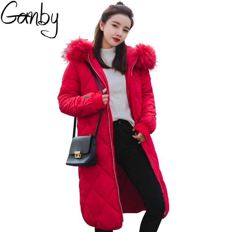 2017 Kpop New Arrival Long Parka High-end Brand Women Winter Warm Cotton Padded Coat Luxurious Fur Collar Parkas Femme Outerwear
