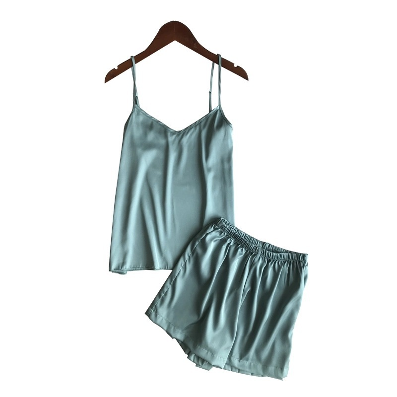 Freshing Summer Ice Silk Twinset Korean Fashion Solid Color Sexy   Pajama     Set   Woman Summer Vest Shorts Suit Lingerie