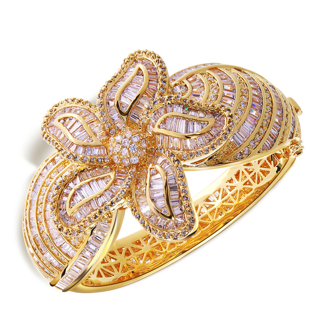 62mm diameter Asian & Indian Bangle gold plated with white cz luxury Bangle New design fashion Jewelry Free shipping