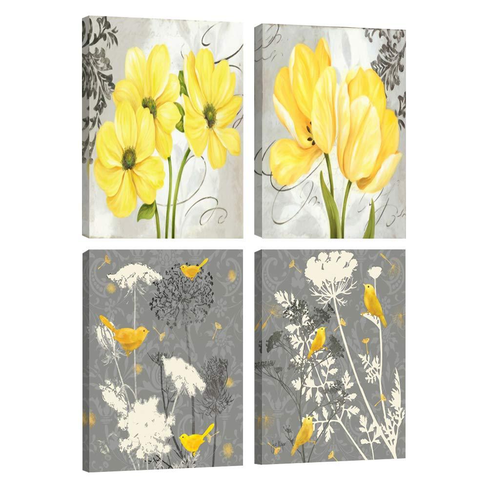 Jaune et gris gris fleur oiseaux mur Art abstrait Floral aquarelle impression toile décor à la maison photos 4 panneaux affiche