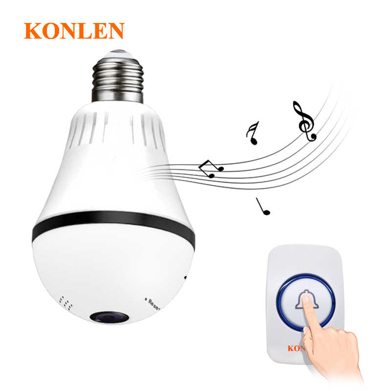 WIFI Doorbell Light Bulb Video IP Camera CCTV 360 Degree Panoramic Fisheye VR Cam For Home Security Wireless Two Way Audio