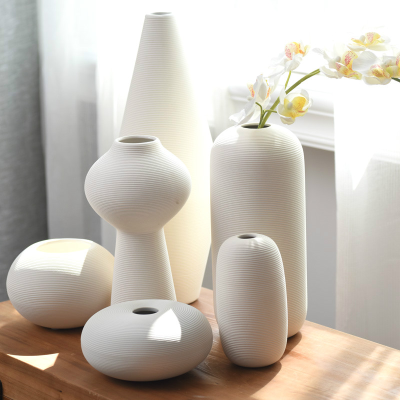 Nordic Classic White Art Ceramic Flower Vase Dining Room Creative Decoration Porcelain Vases
