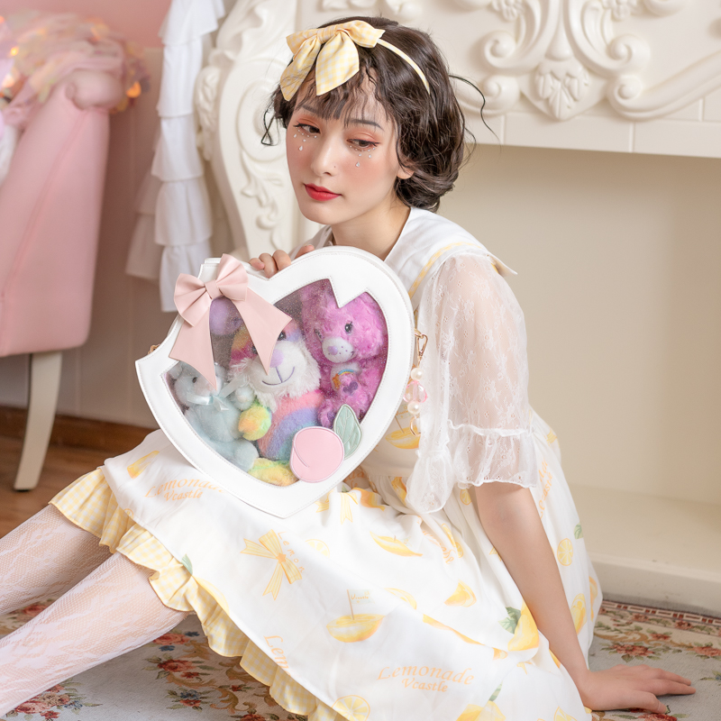 Harajuku Japanese Lolita Cute Bowknot Juicy Peach Heart-shaped Transparent Itabag Handbag Messenger Bag Clear Shoulder Bag