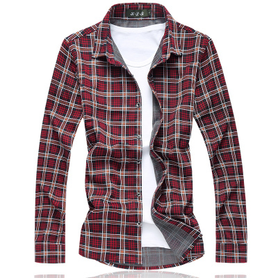 Free shipping plus size military men plaid color cotton Turn-down Collar long-sleeve casual shirt bust 144 cm M-7XL 6XL 5XL