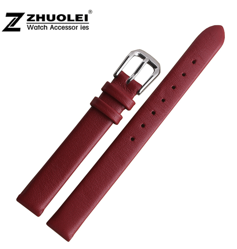 6mm 8mm 10mm Red Ladies Design Durable Genuine Leather Mini fashion Bracelet Strap Watch Band 6mm 8mm 10mm genuine leather ultrathin spun silk watchband for women ladies small size watch straps bracelet pin buckle