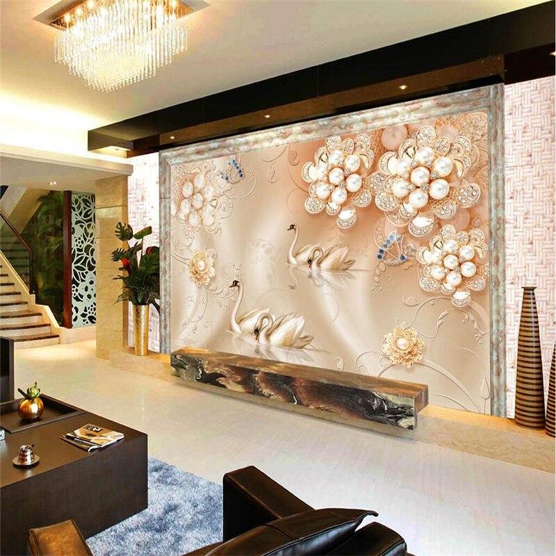 Genial Taille Personnalisée Moderne Mur Papier Peint Fond Perle Fleurs Rose Soie  Cygnes Art Revêtement Mural Salon Chambre Murale Papier Peint