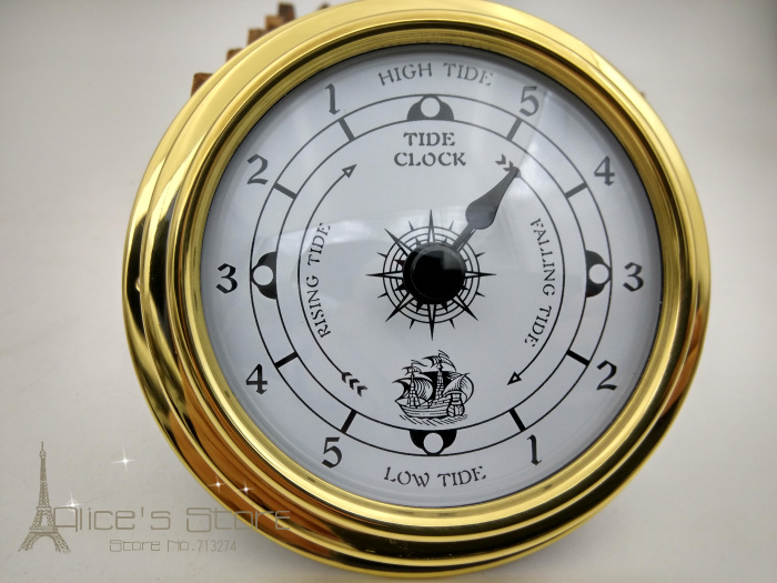 NEW 1pcs 3 Brass Case Traditional Weather Station Analog Tide Clock Gold Metal (White Dial) tc8151
