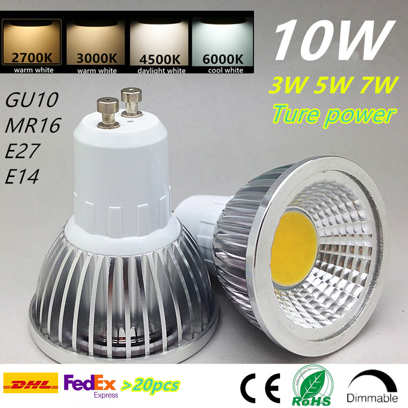 GU10 cob dimmable <font><b>led</b></font> bulb E27 E14 spotlight 3w 5w 7w 10w e27 mr16 warm white 2700k 3000k daylight white real power halogen bulb image