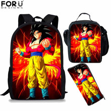 FORUDESIGNS Japanese Anime Dragon Ball Z Superhero Backpack Children School Bags Boys Girls Saiyan Goku Bookbag