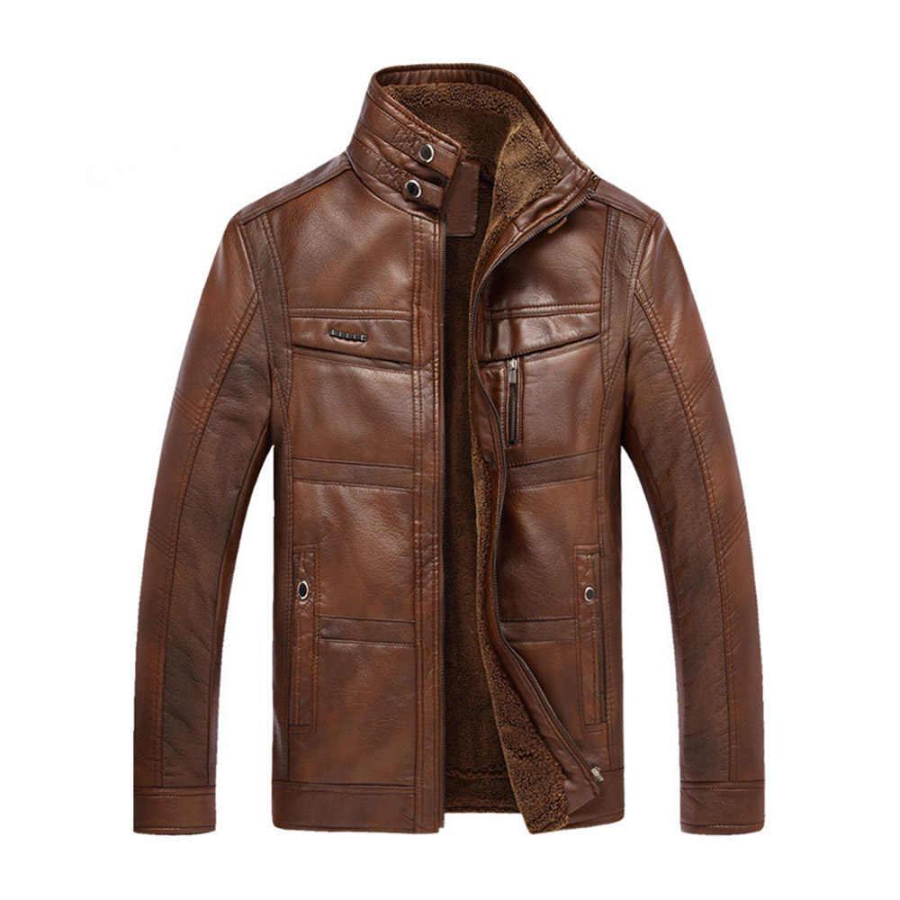 Новая модная мужская зимняя куртка с длинным рукавом из искусственной кожи, пальто, флисовая куртка для мужчин