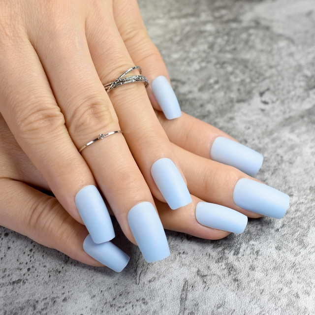 Fashion Matte Fake Nails Flat Top False Nails Light Blue Acrylic ...