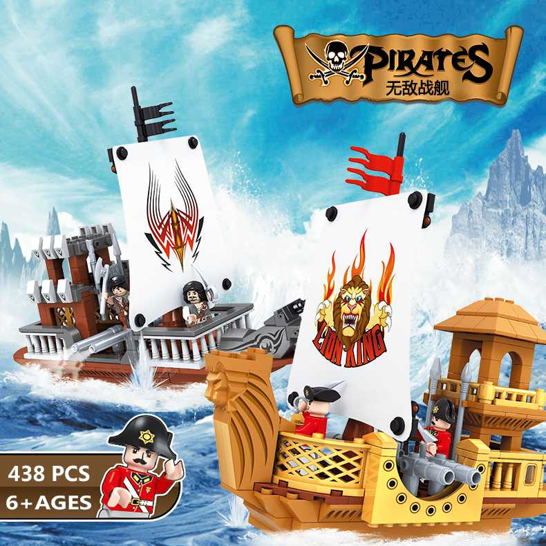 2 SET Pirates of the Caribbean Ship Model Kit Sailboat Warships Scrap Dock Building Blocks Compatible All Brand with Minifig lepin 22001 pirate ship imperial warships model building block briks toys gift 1717pcs compatible legoed 10210