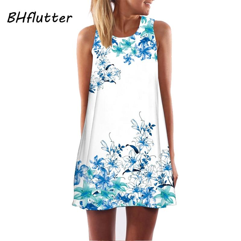 BHflutter Dresses Women 2018 Sleeveless Summer Dress Floral Print Cute Beach Dress Women's Casual Chiffon Dress Vestidos S-XXL