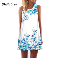 Dresses XXL Plus Size Women Clothing 2017 Sleeveless Summer Dress Floral Print Cute Dress Women S