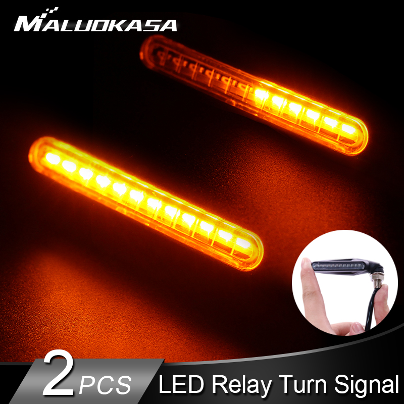 2PCS Motorcycle Turn Signal Light 12*335SMD LED Flowing Water Flashing Lamp Tail Flasher IP68 Blinker Bendable Turn Signals