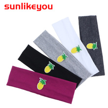 Sunlikeyou Soft Resilient Newborn Baby Headbands For Girls Boys Cute Fruits Pineapple Embroidery Hair Accessories