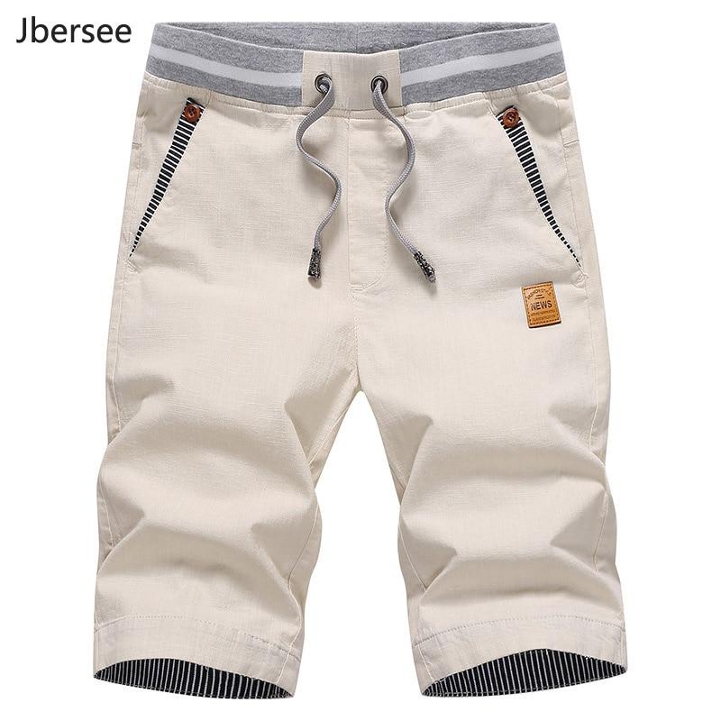 Jbersee Summer Linen Shorts Men Fashion Brand Boardshorts Breathable Male Casual Shorts Beach Plus Size Short Masculino