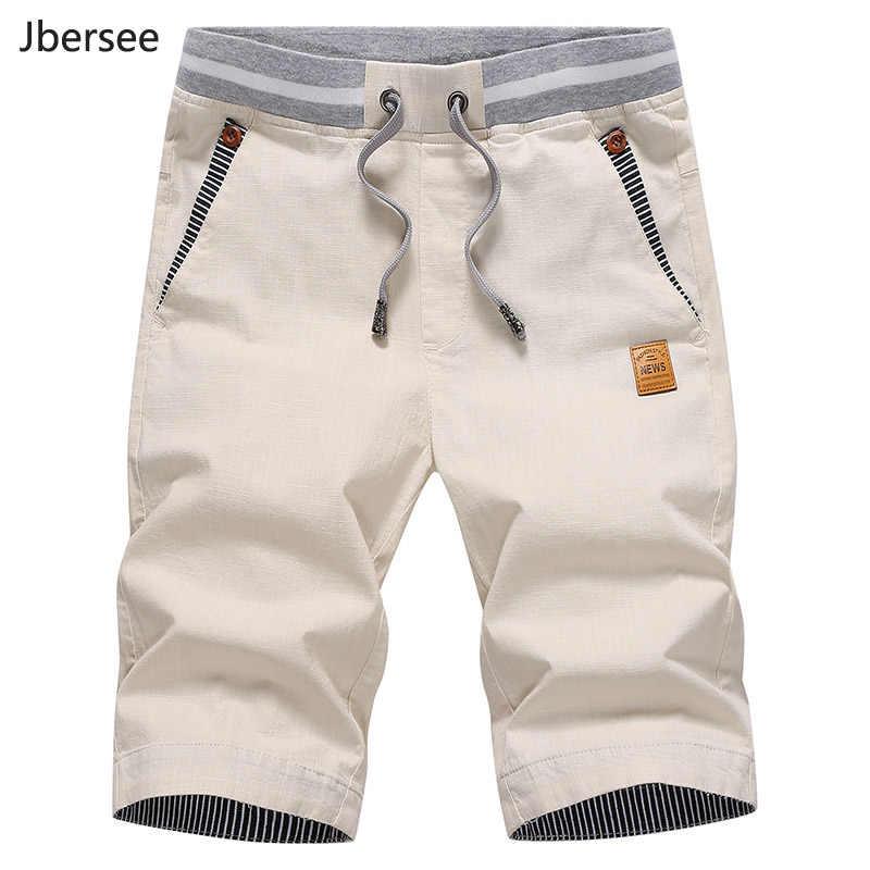 Jbersee lato lniane spodenki męskie moda marki Boardshorts oddychające męskie spodenki codzienne plaża Plus rozmiar krótkie Masculino